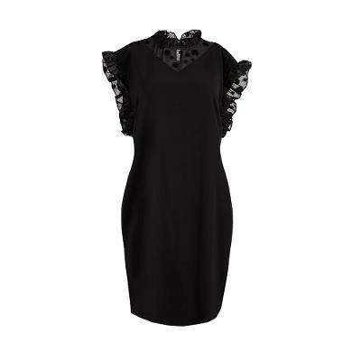 Julia Ruffle Neck Dress in Black [UK18]